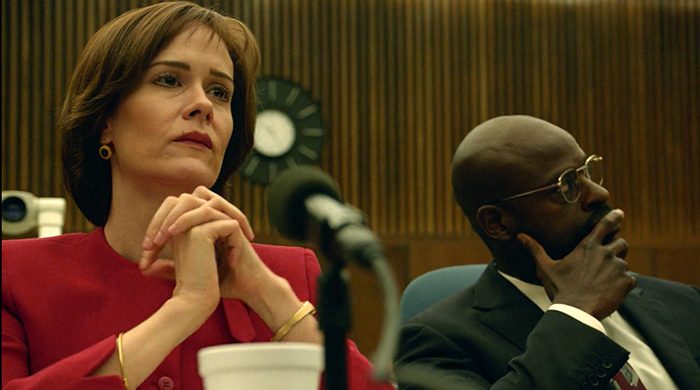 Sarah Paulson as Marcia Clark in The People vs OJ Simpson Historical Drama biography
