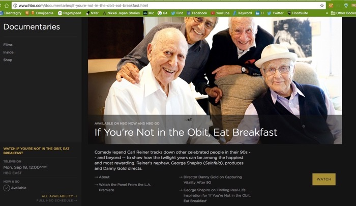 If Not in the Obit Eat Breakfast HBO Now HBO Go Extras