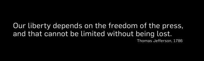 Jefferson quote on last screen of Nobody Speak Documentary film