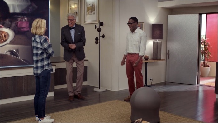 Must See TV: Michael (Ted Danson) introducing Eleanor (Kristen Bell) and Chidi (William Jackson Harper) The Good Place