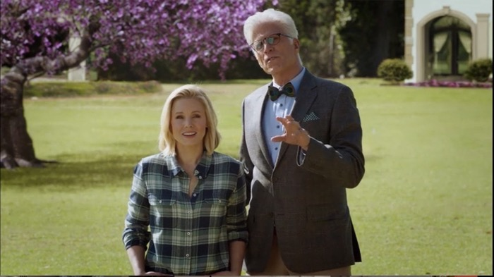 Kirsten Bell with Ted Danson The Good Place