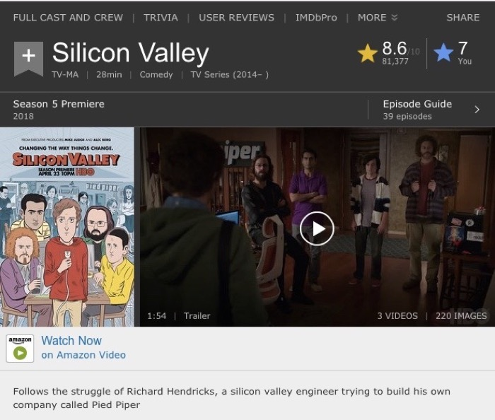 Watch Now with Amazon means watch now with pay per view Silicon Valley