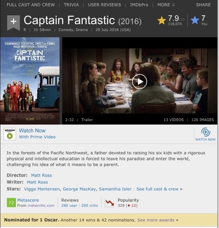 Watch Captain Fantastic with Amazon Prime Video listing on IMDb
